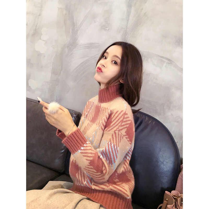 Mishow водолазка свитер женский Осень Зима 2018 женские свободные повседневные вязаные пуловеры с длинными рукавами MX17D5156