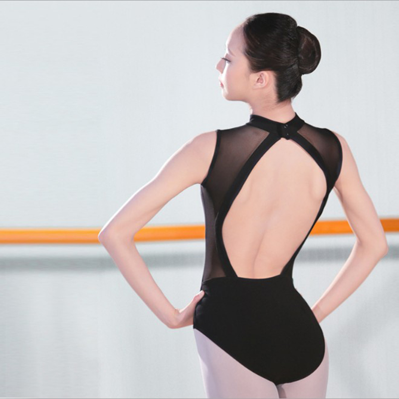 Professional Black Straps Ballet Leotard Women Mesh Backless Ballet Clothes Girls Swan Lake Ballet Costumes