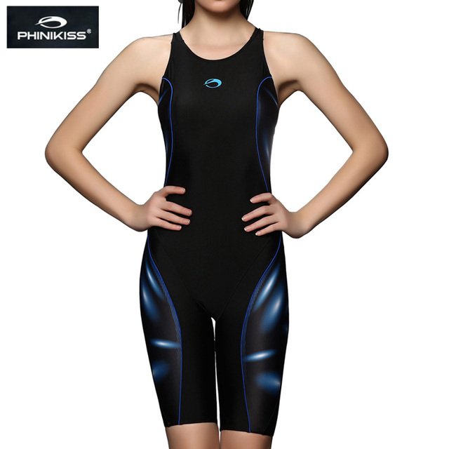 82817978a6c46 PHINIKISS Brand Competition Plus Size Swimwear Women Long Knee Padded Swimsuit  one-piece Professional Girls Racing Bathing Suit