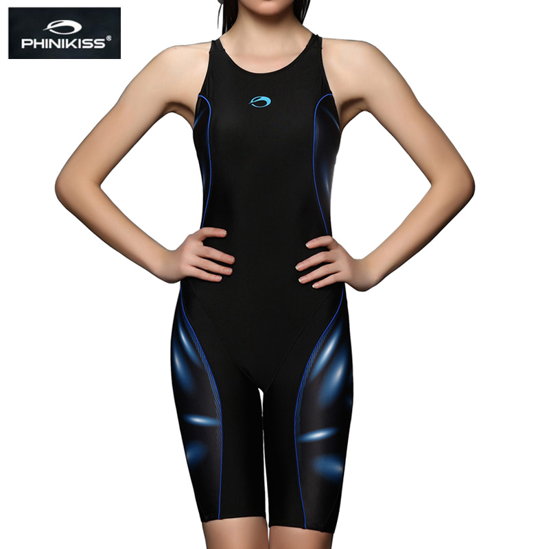 PHINIKISS Brand Competition Plus Size Swimwear Women Long Knee Padded Swimsuit one-piece Professional Girls Racing Bathing Suit(China)