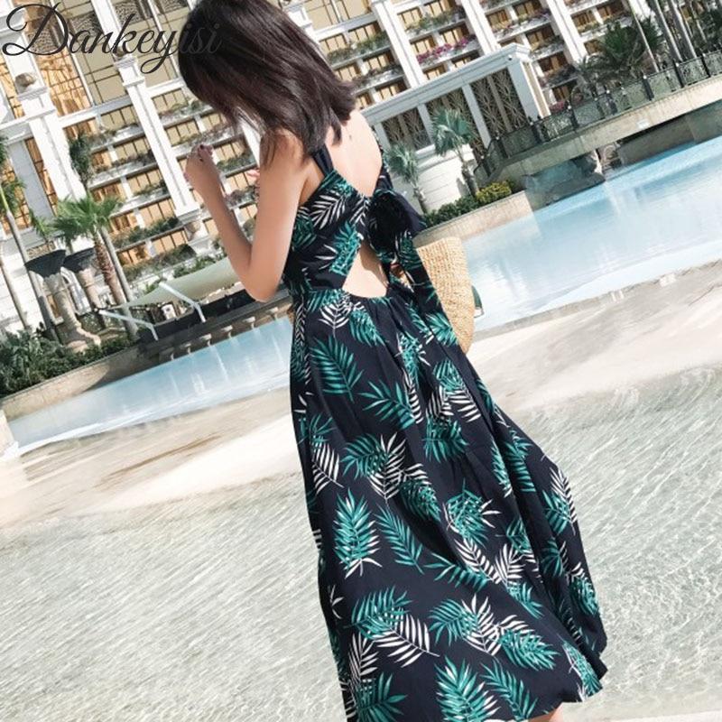 2018 Summer Women s Dress Bohemian Long Dress Resort Tropical Floral Print  Condole Belt Dress Beach Backless 87256f33af13