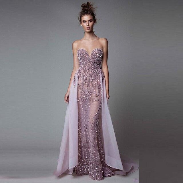 eb57fd92db6 Modest Licht Lila Abendkleid Elegante Lange Kleid Meerjungfrau Abendkleid  Transparent Formale Kleid vestido de festa Mit