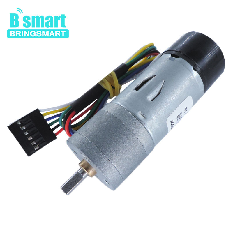 Bringsmart JGA25-370B Encoder Motor DC 12V Gear Motor Micro Deceleration Motor Gear Box Motor With Encoder Fully Enclosed used faulhaber 1624t012s motor coreless gear motor dc servo motor with encoder