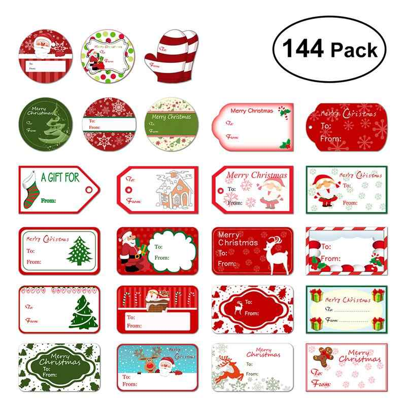 144 Christmas Self Adhesive Gift Tag Stickers 24 Assorted
