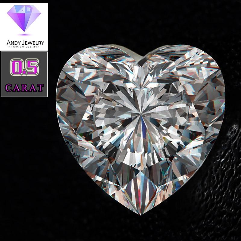 heart shaped moissanite stone Size 5 5 5 5mm 0 5 carat diamond Excellent white D