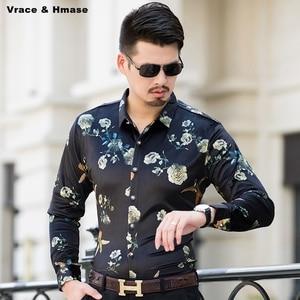 Kwiaty i wzór ptaków drukowanie business casual koszula z długimi rękawami jesień 2017 nowe złote aksamitne wysokiej jakości koszula męska M-XXXL