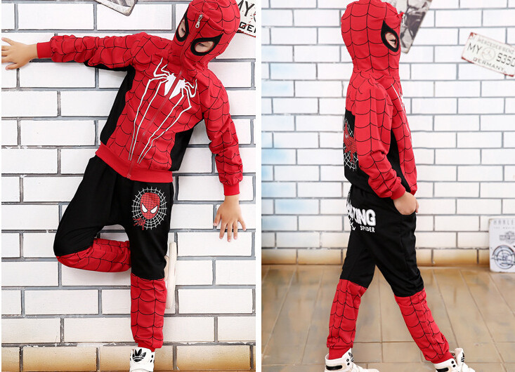Children Boys Clothing Sets Kids Cartoon Printed Spiderman Cosplay Hoodies Casual Clothes Suit Kids Sets Jacket+pants 2pcs