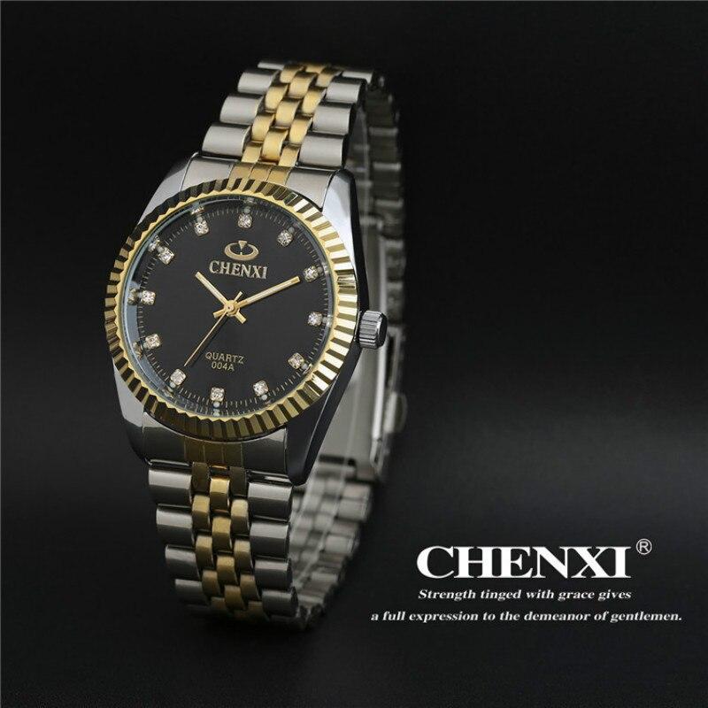 2016 Fashion Luxury Brand CHENXI Watches Men Women Lover Gold Business Stainless Steel Quartz-watch Waterproof Wristwatch Clock