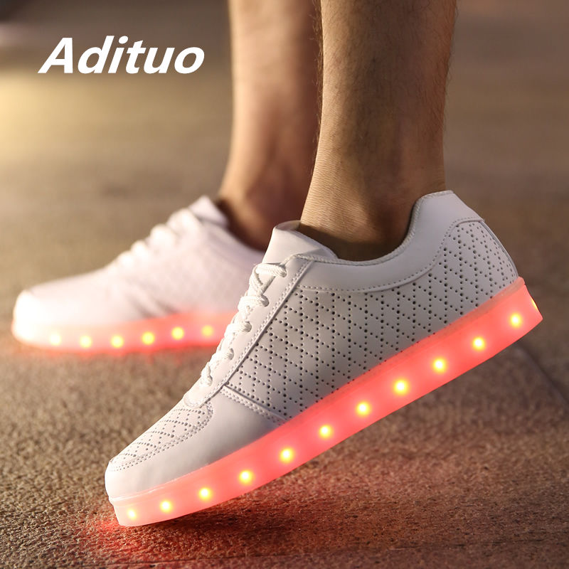 Men's Shoes Ladies Breathable White Led Shoes Men Casual Glowing Shoes Adults Luminous Sneakers Young Couples Sneakers With Usb Charging