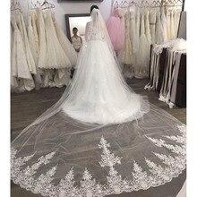 Alta qualidade longo 4 metros de renda véu casamento uma camada 4 m véu nupcial com pente acessórios casamento welon