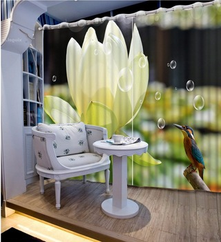 Modern HD 3d Lotus Window Curtain Living room Bedroom Curtain High quality Home Hotel Cafe Office Curtain Decoration