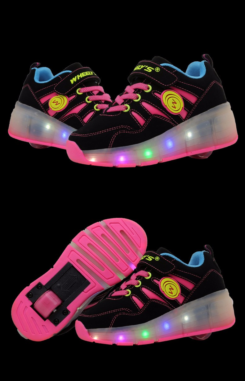 High Quality Cheap Boys LED Sneakers With Wheels Kids Light Up Shoes Girls Roller Skates tenis de rodinha13