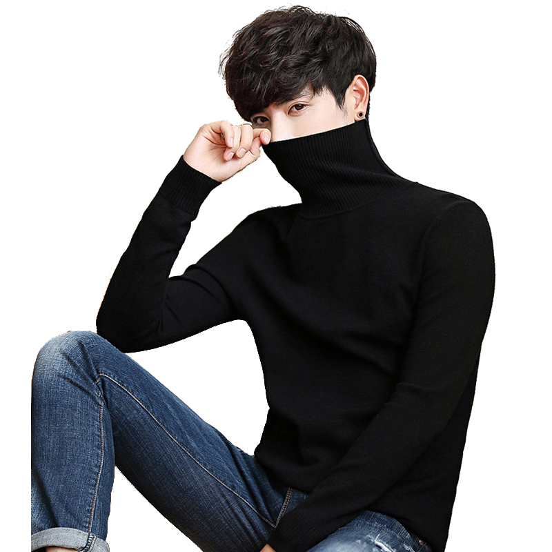 Black Turtleneck Men Knitted Sweater Classic Solid Color Casual Elasticity Pullover Men Sweaters Turtle Neck Long Sleeve(China)
