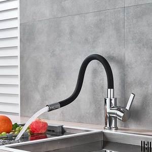 Image 4 - שחור כרום מטבח כיור ברז פליז גמיש גומי חם מים קרים מיקסר ברז למשוך למטה סיבוב מטבח ברז Torneira Cozinha