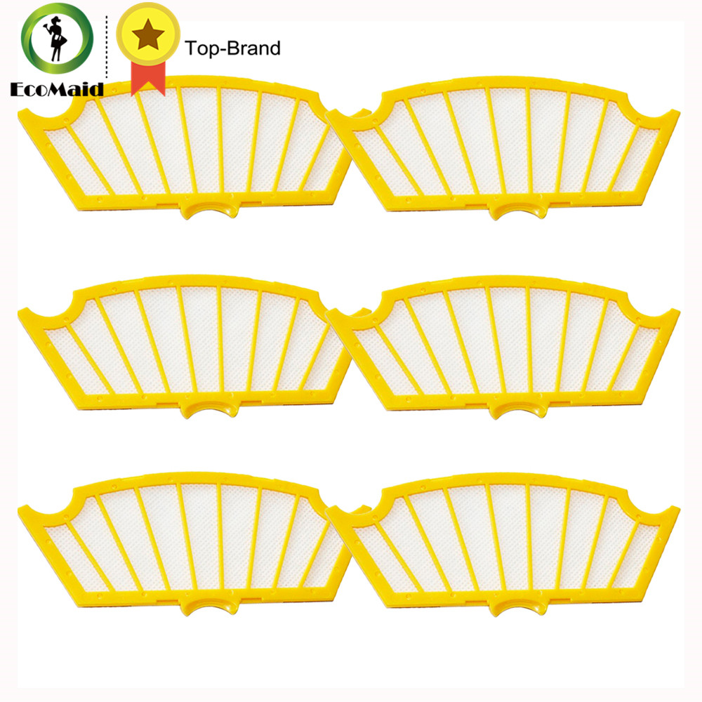 Replacement Yellow Filters for iRobot Roomba 500 Series Vacuuming Robots 81502 510 530 540 550 570 580 610 Vacuum Cleaner Parts bristle brush flexible beater brush fit for irobot roomba 500 600 700 series 550 650 660 760 770 780 790 vacuum cleaner parts