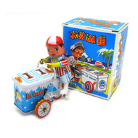 Classic Vintage Clockwork Wind Up Ice Cream Car Photography Children Kids Tin Toys With Key