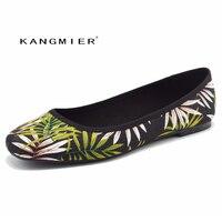 KANGMIER Shoes Women Flats Autumn Printed Fabrics Ballet Ballerina Flats Shoes