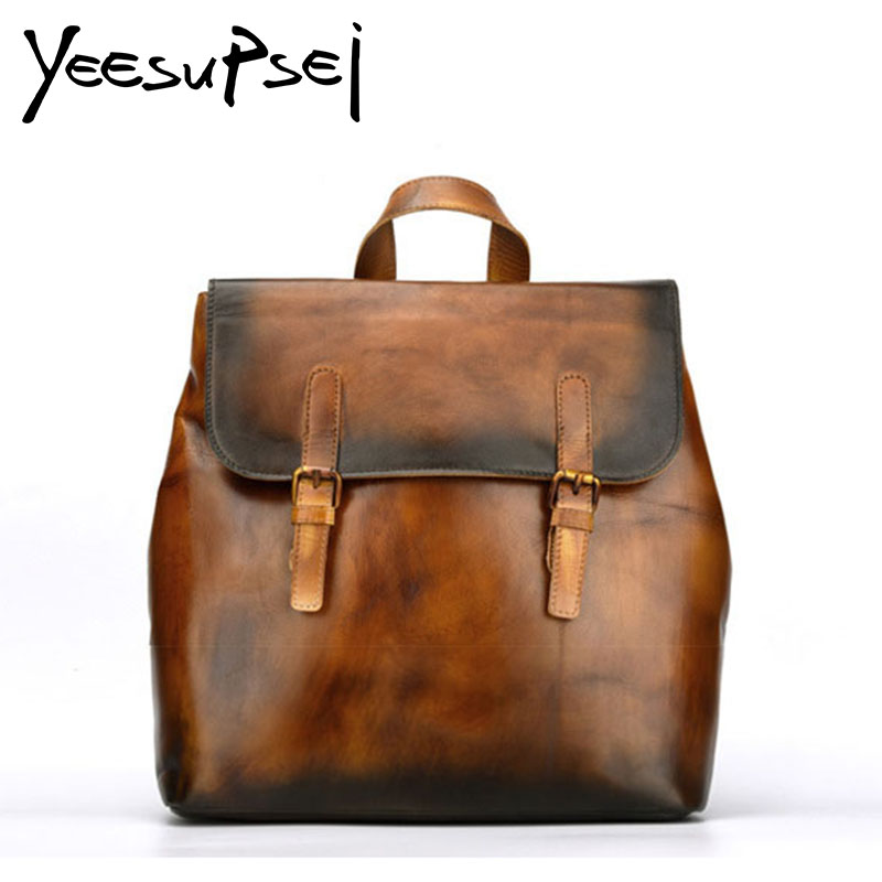 YeeSupSei Crazy Horse Leather Backpack Double Buckle Cover Vintage Women Backpack Quality School Bag Large Capacity Thin Bag