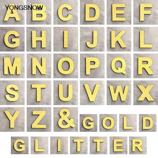 1pcs Eglish Letters Glitter Gold Letter Wall Stickers 3D Alphabet Letter Sticker Home Birthday Wedding Decoration