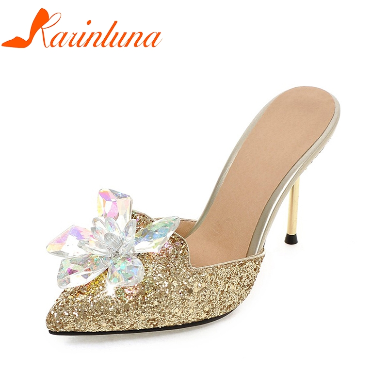 KARINLUNA 2018 Plus Size 32-43 Crystal Fashion dropship Brand Shoes Women Sexy High Heels Party Wedding Mules Pumps Woman