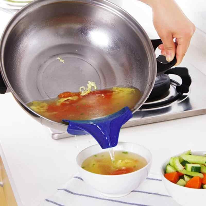 Antypoślizgowy lejek silikonowy wsuwany lejek do zupy lejek do garnków patelnie miski i słoiki akcesoria kuchenne lejek kuchenny