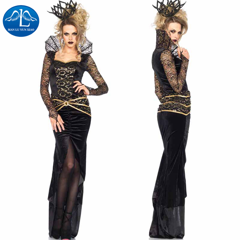 MANLUYUNXIAO Women Halloween Cosplay Costume Witch Costume Black Fancy Long Dress Halloween Costumes For Women Wholesale