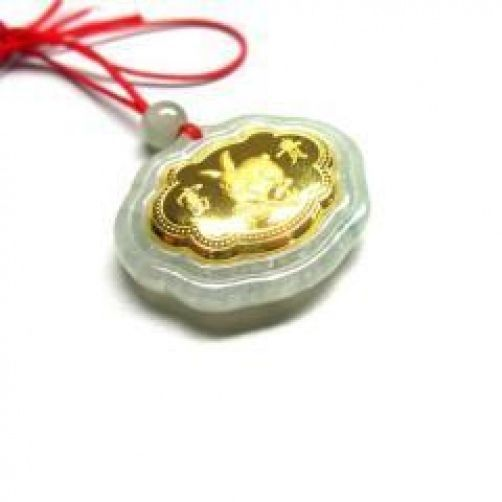 N596 Naturel Jade Agate 24 k Or Zodiaque Lapin Collier N Remise
