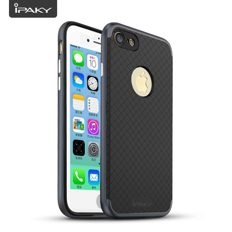 Rugged Armor Case For iPhone 7, IPAKY TPU + PC 2 In 1 Ultra Thin Exact-Fit Dotted Cover Grids Texture SGP Case For iPhone 7