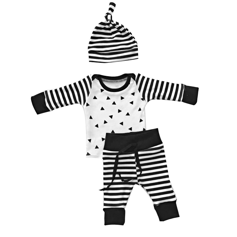 Newborn Toddler Baby Boy Girl Long Sleeve Tops+Pants Hat 3 Pcs Outfit Set Clothes Size 70 (for 0-6 months)