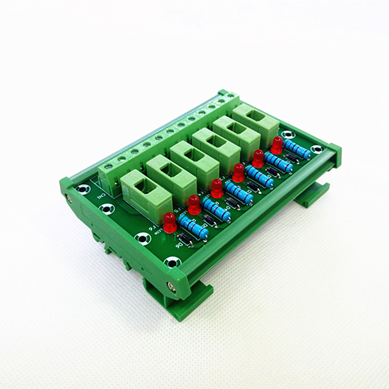 DIN Rail Mount 6 Position Fuse Module Board,Fuse Holders for 5x20mm(DxL) tube fuse.