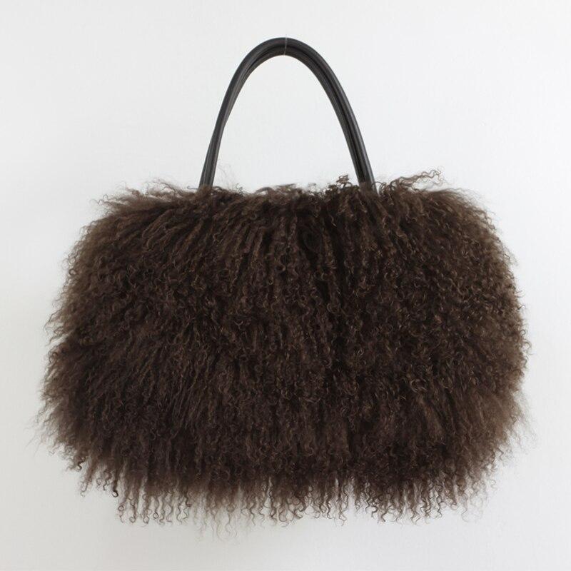 Classic Women Fluffy real Mongolian Fur bag Handbag Purse YH211 - 5