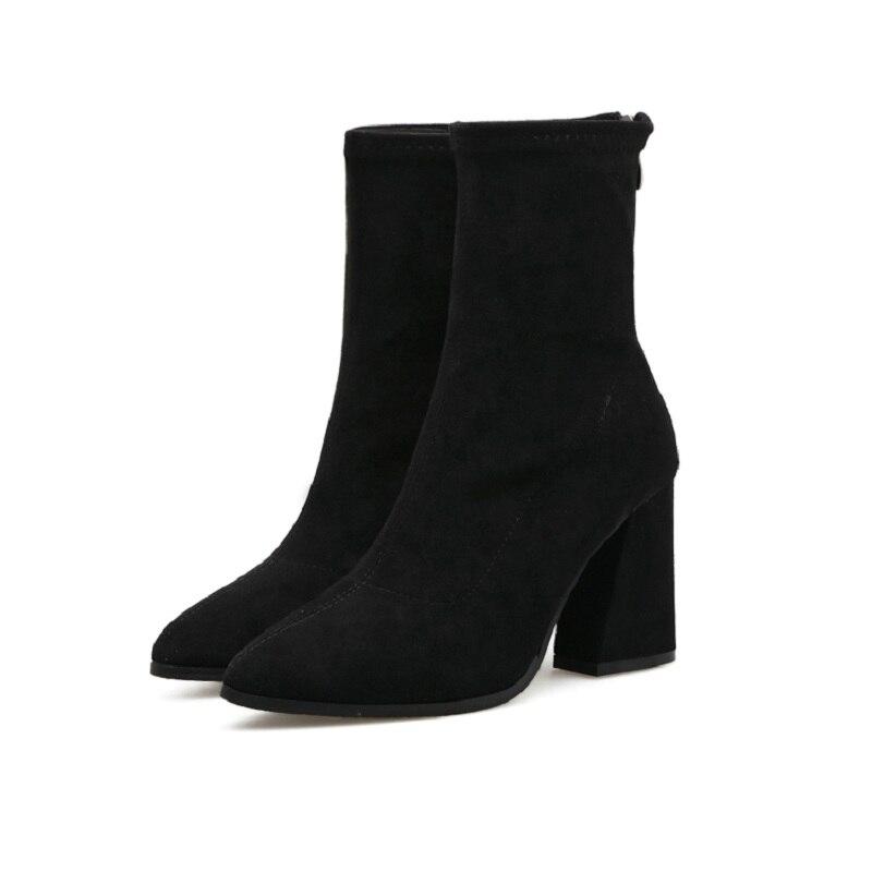 Avec Chaussons Mode Ljj Commerce Épais 0216 bottes De Femmes Automne Noir Extérieur Nouvelle Pointu Mi Et D'hiver 2018 va464q