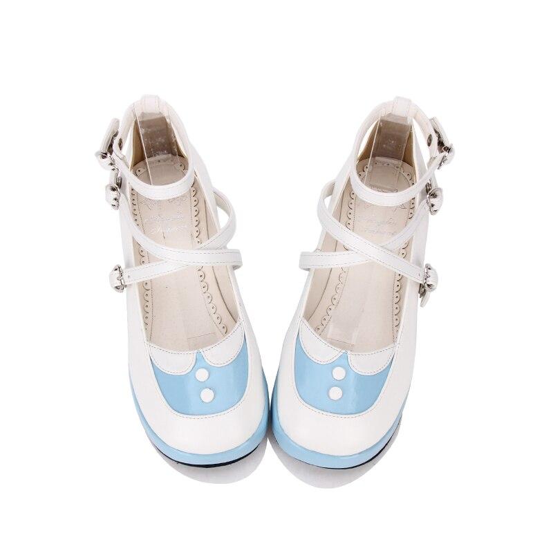 Tamaño Alto azul 35 44 8465 Nuevos Moda Cielo Dulce Princesa Impresión De Cuña Marino Azul Tacón Lolita Angelical Zapatos gApwpR