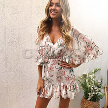 CUERLY New Arrival High Quality Fashion Ruffles Women Flower Print Dress Sexy Summer V-neck Half Sleeve Lace Dresses Vestidos