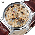 SEWOR Роскошные Top Brand Механические Часы Золото Скелет Часы Мужчины Повседневная Часы Кожа Мода Наручные Часы Relogio Masculino