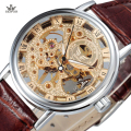SEWOR Luxury Top Brand Mechanical Watch Gold Skeleton Watches Men Casual Clock Leather Fashion Wristwatches Relogio Masculino