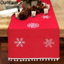OurWarm 41x183cm Snowflake Christmas Table Runner 3D Pom Pom Balls Edge Merry Christmas Table Decoration Gifts for the New Year
