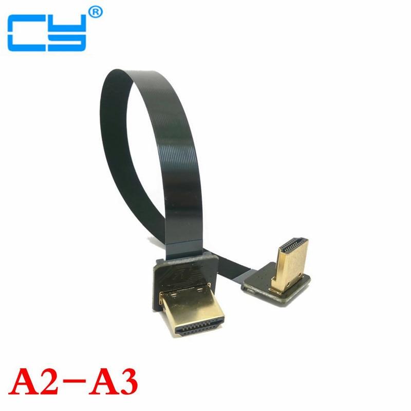 10cm-100cm FPV HDMI Type A Mâle et Femelle vers le Bas et le Haut Incliné à 90 Degré HDTV FPC Câble Plat pour la Photographie Aérienne Multicopter