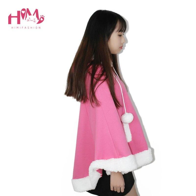 Christmas Hooded Cloak Winter cape Women Pink Unlined Upper Garment Sets Fleece Lovely Japanese Coat Blue  1
