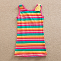 Neat  2016 new style sleeveless comfortable lovely long T-shirt striped pattern cotton baby girl clothes children t shirts SH602