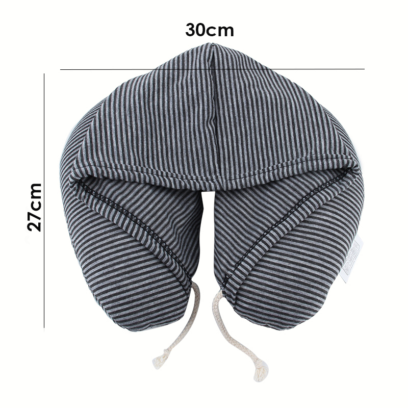Soft Hooded U pillow Polyester Drawstring Microbeads Body Travel Neck Pillow Home Airplane Car Pillows Portable Home Textile in Body Pillows from Home Garden