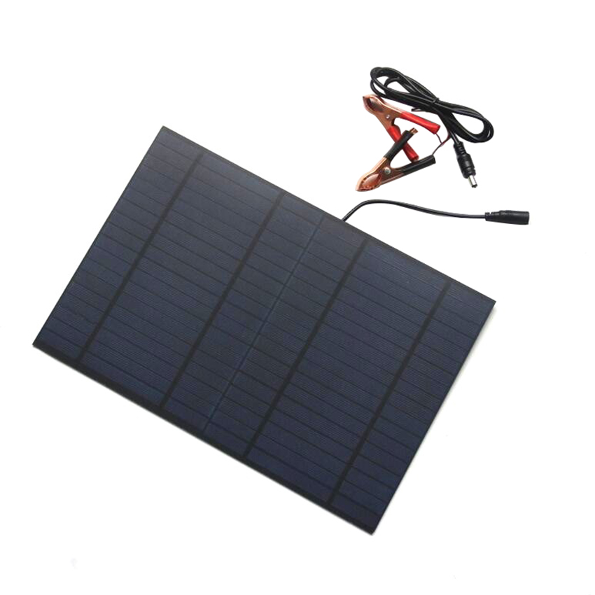 Zerosky Portable 18V 10W Solar Panel Bank DIY Solar Charger Panel External Battery For Car with Crocodile Clips Outdoor Power