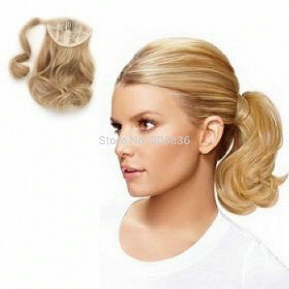 Short Curly wavy honey blonde wrap around