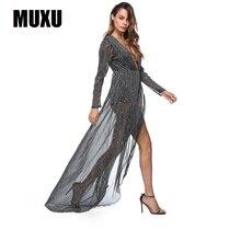 MUXU sexy patchwork summer dress glitter womens clothing jurk plus size long sleeve robes femme 2018 dresses women