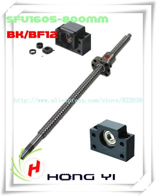 1pcs SFU1605 ball screw L=800mm Ballscrew -C7end machined +1PCS ballnut + 1 set BK12/BF12 Support CNC 1pcs ball screw sfu1605 l 300mm 1pcs ballscrew ball nut 1 set bk12 bf12 support cnc