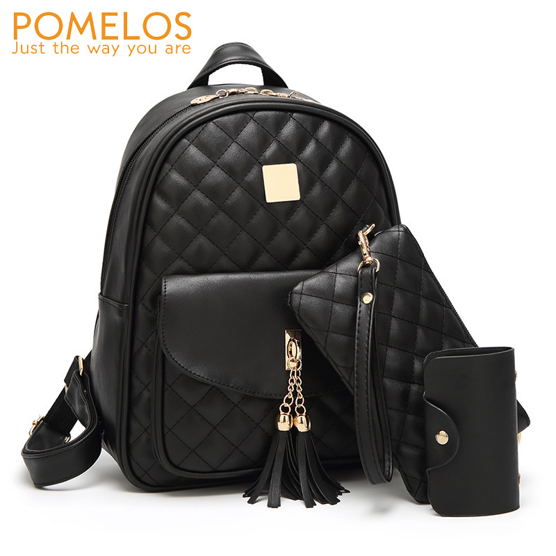 POMELOS 3 PCS Set Backpack Women 2018 New Arrive Women PU Leather Backpack School Bags for Teenage Girls Small Women Backpack aelicy 3 colors 2pcs set luxury new women fashion backpack with purse bag pu leather backpack women school bags for girls 0927