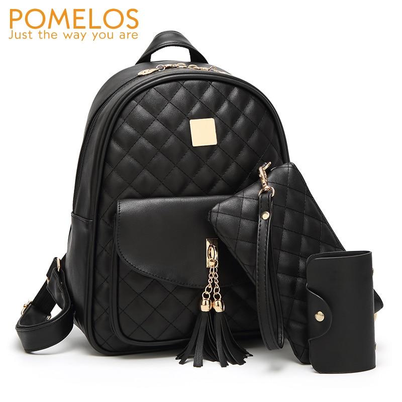 POMELOS 3 PCS Set Backpack Women 2018 New Arrive Women PU Leather Backpack School Bags for Teenage Girls Small Women Backpack рюкзак child backpack 1 3 pu