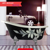 European style claw foot antique art mosaic material outside bath clawfoot freestanding bathtub