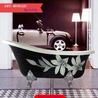 European style claw foot antique art mosaic material outside bath clawfoot freestanding bathtub