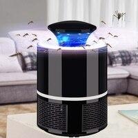 Ev ve Bahçe'ten Kovucular'de 2018 yeni akıllı LED UV elektrikli sivrisinek katili lamba USB şarj gürültüsüz siyah